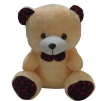 Taringo24h Peach & Red Black Bow Teddy Bear  - 12 Inch (Beige)