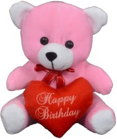 FunnyLand Teddy Bear With Heart Pink 20cm Caption Happy Birthday  - 20 Cm (Pink)