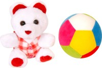 Lehar Toys Teddy And Ball  - 12 Cm (Red)