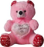 GRJ India 10 Inches Teddy Bear With Heart  - 10 Inch (Pink)