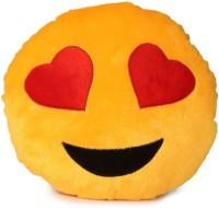 Deals India Yellow Heart Eyes Smiley Cushion  - 35 Cm (Yellow)
