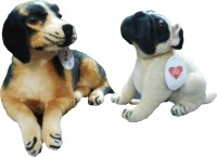 Ekku Combo Of Pug Dog And Brown Dog  - 8 Inch (Brown, Black, Beige)