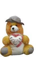 Ekku Hat And Heart Teddy Bear  - 13 Inch (Brown)