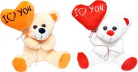 Tabby Heart Balloon Teddy Bear W&B Combo  - 30 Cm (White, Beige)
