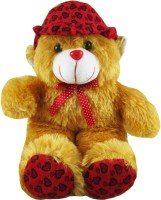 Tabby Lovely Cap Teddy Bear  - 14 Inch (Brown, Red)