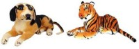 Yakeen Hm Dog & Brown Tiger Combo Pack Of 2  - 32 Cm (Brown)