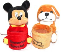 Naaz Cute Soft Toy Pen Stand Set Of 2- Character May Different  - 10 Cm (multicolored)