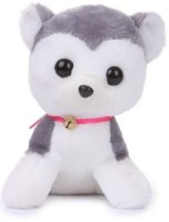 Deals India Soft Toy Cute Dog With Bell  - 30 Cm (White, Black)
