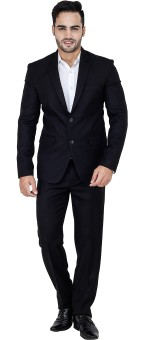 Bluethreads Aristocrat Black Basic Single Breasted Solid Men's Suit
