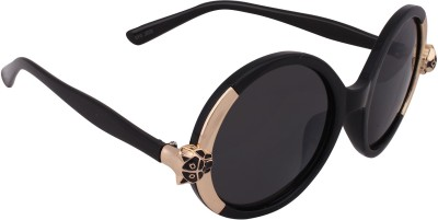 Qwerty Black And Golden Lion For Women Round Sunglasses For Girls