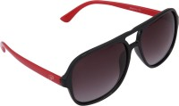 Panache Black-Red Frame-Grey Gradient Polarised Lens Rectangular Sunglasses