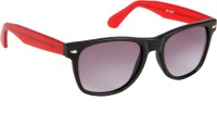 Cristiano Ronnie Matt. Black & Red Wayfarer Sunglasses Grey