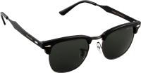 Panache Clubmaster Black-Gunmetal Frame-Green B2 Lens Wayfarer Sunglasses