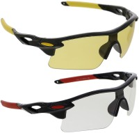 Vast Combo Of Day & Night Vision Wrap Around Sports Sunglasses Yellow
