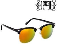 Poloport Black Frame Yellow Orange Shade Lense Clubmaster Wayfarer Sunglasses