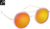 Aislin Premium Retro Dual Flash Mirror Round Sunglasses Pink, Green