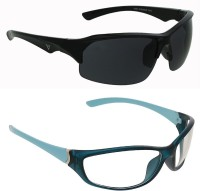 Vast Combo Of Day & Night Vision Wrap Around Sports Sunglasses Grey