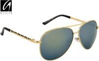 Aislin Classic Flash Mirror Aviator Sunglasses Green