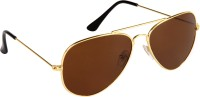 Cristiano Ronnie Classic Golden With Glass Lenses Aviator Sunglasses Brown