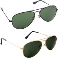 Magjons Combo Of Green & Gold Green Aviator Sunglasses