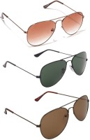 Allen Cate Combo Of 3 Dual Shade Brown Dark Green And Dark Brown Aviator Sunglasses
