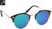 Aislin Premium Homme Composit Flash Mirror Cat-eye Sunglasses Green, Blue