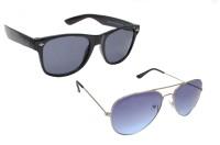 Sellebrity Elegant Combo Classic Blue Aviator With Wayfare Black Sunglasses Aviator Sunglasses
