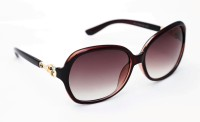 TheWhoop Women Trendy Brown Oval Sunglasses