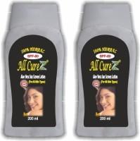 All Curez Aloe Vera Sun Screen Lotion (Set Of 2) - SPF 50 PA++ (400 G)