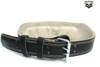 Hard Bodies Leather Gym Belt With Padded Back Support (Free Size, Black)