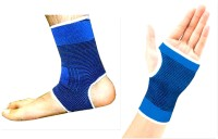 99dailydeals R75 Combo Of 2 Palm And Ankle Support For Gym Jogging Exercise Muscle Pain Health (Free Size, Blue)