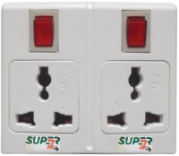 Super-IT Dual 3 Pin Worldwide Socket 2 Single Adapter Surge Protector (White)