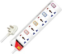 MX Universal Power Strip With Individual Switch, Power Indicator & Child Safety Shutter - 1.5 Mtr 4 Strip Surge Protector (Multicolor)