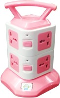 Gadget-Wagon 2 Layer With 8 Sockets Multidirection 8 Strip Surge Protector (Pink)