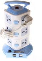 Techshoppe Plug Portable Socket With Usb 12 Strip Surge Protector (Blue, White)