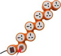 MX 8 SOCKETS SNAKE SPIKE SUPPRESSOR WITH CIRCUIT BREAKER - 5 AMPERES 8 Strip Surge Protector (Orange, White)