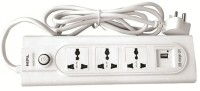 HPL Hpl 3 Sockets Power Strip With Usb Port 3 Strip Surge Protector (White)