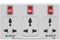 Super-IT Tripple 3 Pin Worldwide Socket 3 Single Adapter Surge Protector (White)