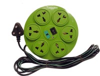 Tjaggies Green 360 Degree 6+1 Socket Power Strip Extension Board With Fuse 6 Wall Mount Surge Protector (Multicolor)