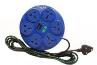 Tjaggies Blue 360 Degree 6+1 Socket Power Strip Extension Board With Fuse 6 Wall Mount Surge Protector (Multicolor)