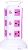 Chkokko 3 Layer Extension Tower With Handel And 2 USB Ports 11 Single Adapter Surge Protector (Pink)