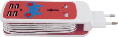 Speed Home And Travel Charger 4 Usb 1 Universal Socket 5 Strip Surge Protector (Red, White)