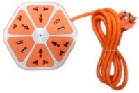 Tech Gear Universal 4 Hexagon Power Socket Extension 6 Strip Surge Protector (Orange)