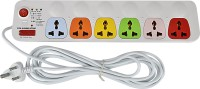 Cona Smyle Viva 6+1 Power Strip / Spike Guard 6 Socket + 1 Switch With 5mtrs Wire 6 Strip Surge Protector (White)