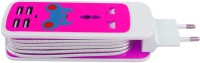 HashTag Glam 4 Gadgets Travel Charger 5in1 5 Strip Surge Protector (Pink, White)