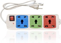 Hitisheng 3+3 Sockets Power Strip Extension Cord Board 6 Strip Surge Protector (Multicolor)