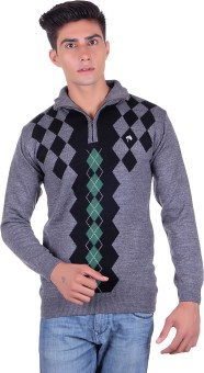 Fabtree Argyle, Solid Turtle Neck, V-neck Casual, Party, Festive Men's Sweater - SWTEBVQ3VHSCGFE2