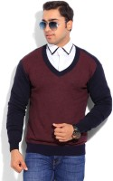 Indian Terrain Solid V-neck Casual Men's Sweater - SWTEYARZSWU7QBED