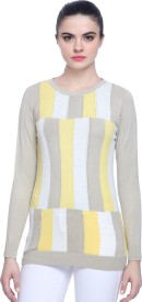 Miss Grace Self Design Round Neck Party Women's Sweater