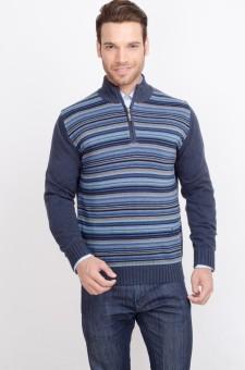 ALX New York Striped Turtle Neck Casual Men's Sweater - SWTDSG8ZXFZGAQZZ